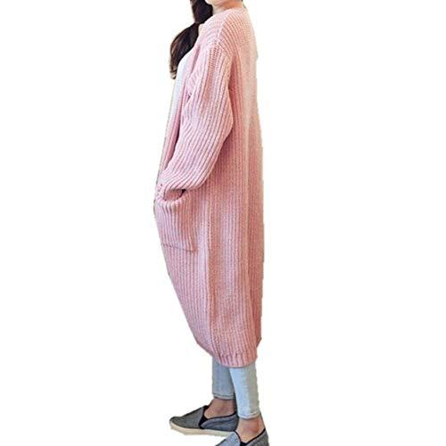 Giacca Tasche Relaxed A Winered Cappotto Moda Outerwear Giacche Eleganti Aperto Donna Giovane Casuale Lunghe Invernali Maniche Forcella Ragazze Autunno Laterali Monocromo Donne Maglia x0wRSwnFq6