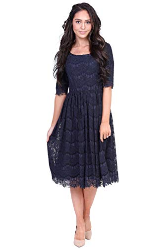 Mikarose Women's Evelyn Modest Half-Sleeve A-Line Lace Dress (Navy, Small)