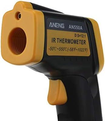 James ANENG AN550A Infrarot-Thermometer LCD-Digitalanzeige Laser-Temperaturmesser Schwarz /& Gelb