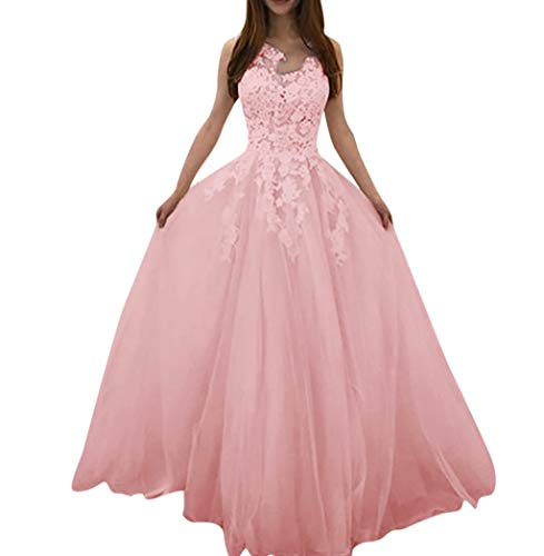 (Aunimeifly Ladies Floral Lace Panel Wedding Tulle Tutu Elegant Floor Length Chiffon Party Dress Prom Gown Pink)