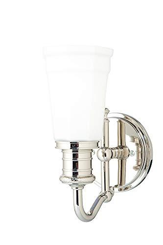 Bradford 1-Light Vanity Light - Polished Nickel Finish with Opal Matte Glass Shade