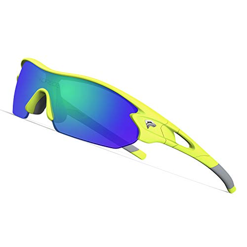 TOREGE Tr90 Flexible Kids Sports Sunglasses Polarized Glasses for Junior Boys Girls Age 3-12 TR04 (Matte Yellow&White&Green Lens)