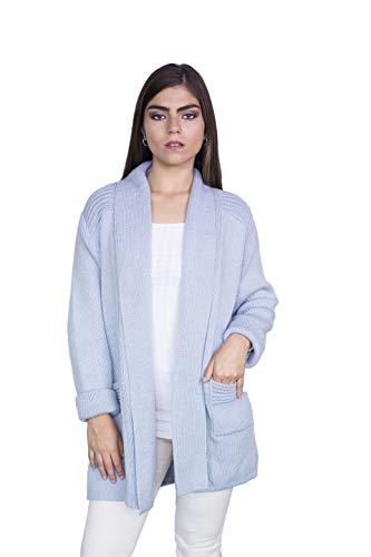 Raymis Peruvian Women´s Hand Knit Alpaca California Cardigan Sweater (Light Blue) (Sweater Alpaca Peruvian)