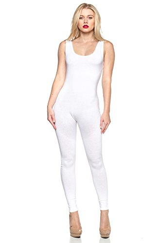 Sleeveless Catsuit (J2 LOVE Women's Sleeveless Jumpsuit, X-Small, White)