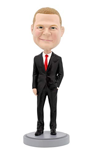 Casual Custom Bobble Head - Custom Bobbleheads - Male Executive in Power Suit Body - Personalized Gifts