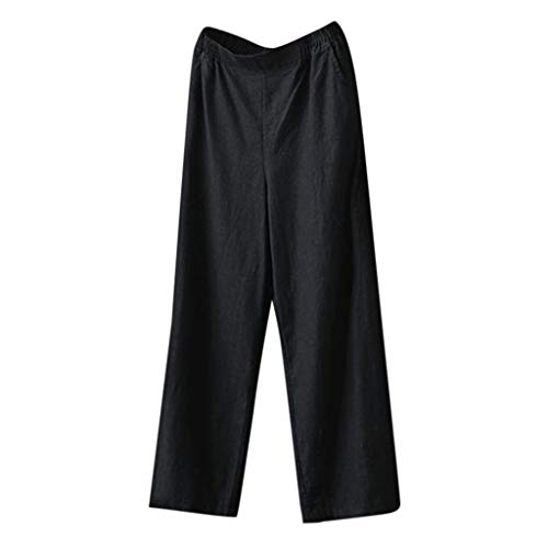 Botrong Women High Waist Casual Loose Wide Leg Pants Black ()