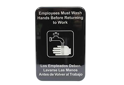 """English/Spanish Employees Must Wash Hands Sign, White on Black, 6"""" x 9"""""""