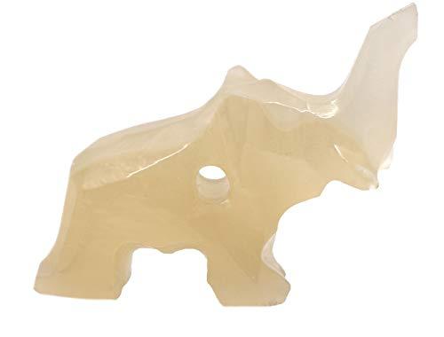 (Mellow Amber Onyx Aragonite Elephant Pendant, 1.25