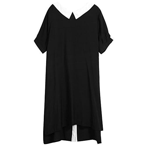Xmy Couleur Noir et Blanc coller poupées pour les robes de femmes, de temps, de la neige à manches courtes jupes tissées pour l'été sont Code irrégulières