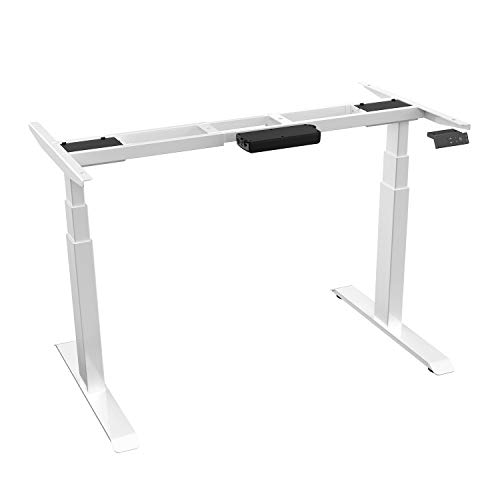 AIMEZO Electric Stand Up Desk Adjustable Legs 3 Tier Dual Motor Frame Height Adjustable Desk Base DIY Workstation with 2 Memory Controller/2 USB Ports(White)