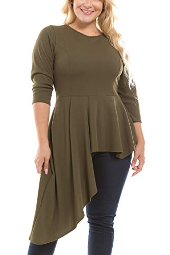 Bubble B Women's Plus Size Solid Asymmetrical Hem 3/4 Sleeves Top Olive ()