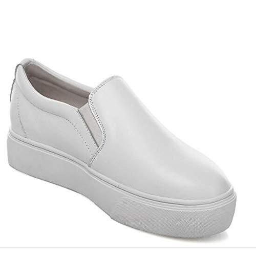 Negro Blanco de de Deporte para Redonda Zapatos Cuero Plano tacón Confort de Punta White con Zapatillas napa Mujer ZHZNVX n8aqT4w0