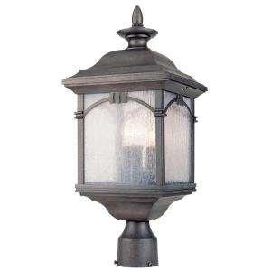 Hampton Bay 3-Light Outdoor Antique Silver Post Lantern (Bay Post Lantern)