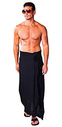 1 World Sarong Men's Sarong Black One Size Fits Most