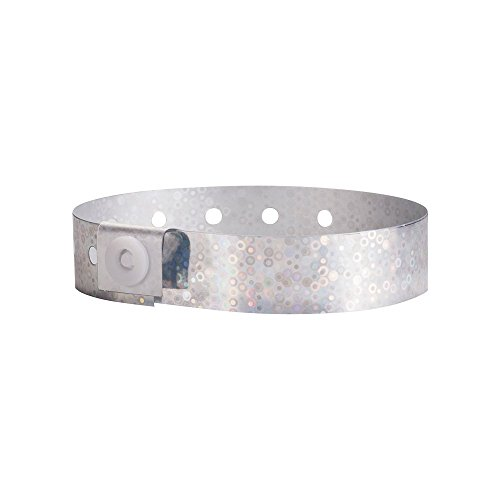 WristCo Holographic Silver Plastic Wristbands - 100 Pack Wristbands For Events