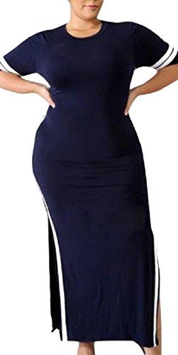 1 Jaycargogo Donne Casuale Moda Righe Vestito Manica Maxi A collo O Corta r8Pgqnr1