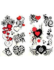 GRASHINE Look like real 1 package with 2pcs waterproof red heart black star flower and butterfly fake and realistic temporary tattoos