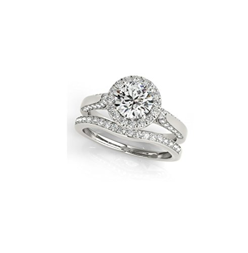 Halo Ring 14k White Gold 2.00Ct VVS1 Clarity White Round Cut Diamond Engagement Wedding Anniversary Love Party Frindship Ring Set US Size 4-13 Available. - Vvs1 Clarity