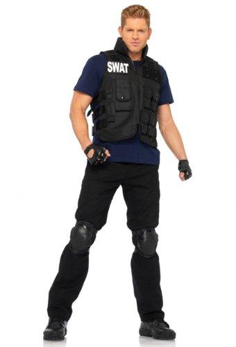 Leg Avenue Men's 4 Piece SWAT Costume, Black, One -