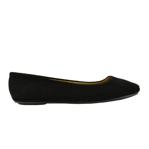 Soda Women's Basic Round Toe Slip On Ballet Flats,6 B(M) US,Black nubuck (Flat Soda compare prices)