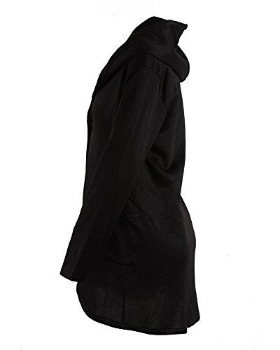 Chaqueta Mujer Abrigos Sudaderas Con Negro Manga Capucha Sudaderas Larga Cárdigan qtWaHwtfr
