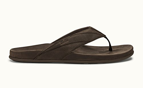 OLUKAI Men's Pikoi Thong Sandal Dark Wood 10 M (Jack Wood Gallery)