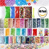 (Slime Supplies Kit, CETIM 40 Pack Slime Beads Charms, Include Fishbowl Beads, Floam Beads, Glitter, Confetti, Fruit Slices, Rainbow Pearl, Colorful Sugar Paper Accessories, Slime Tools for DIY Slime)