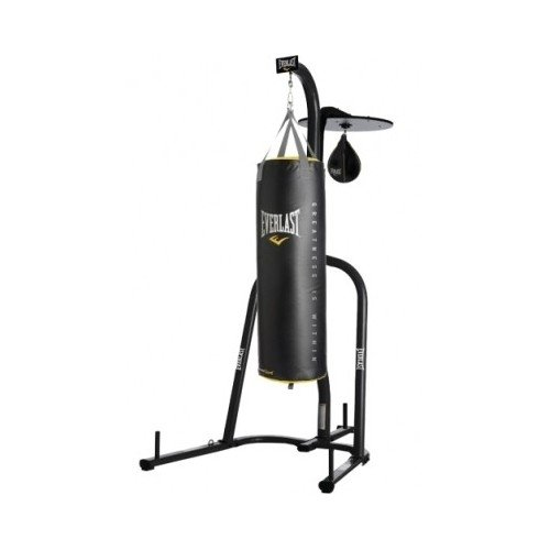 Everlast Dual Station Punching Bag Stand w/ 80 lb PowerCore Heavy Bag and Everhide Speed Bag