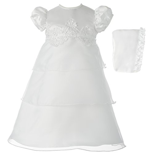 Organza Beading Ribbon - Haddad Brothers Baby-Girls Newborn Christening Baptism Special Occasion Organza Multi-Tiered Dress, White, 6-9 Months