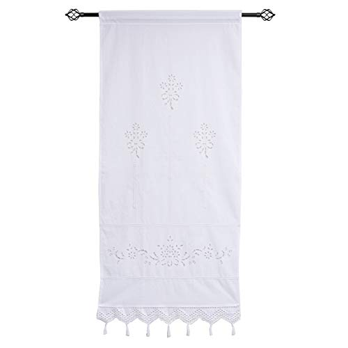 M.Y Embroidery Tiers Curtain Cotton Linen Crochet Curtain Lace Valence for Windows Half Curtains for Dining Room Kitchen 1 Panel (Curtain Cotton Lace)