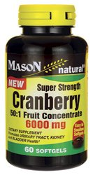 Mason Vitamins Cranberry Super Strength 50:1 Fruit Concentrate 6000mg Softgels, 60 Count (Cranberry Super)