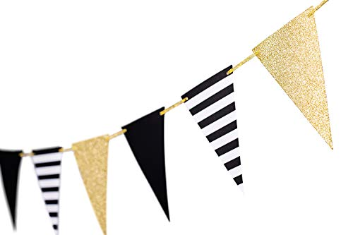 10 Feet Gold Black Banner Party Decoration Bunting Garland Triangle Paper Banner Graduation Season Supplies Flags for Birthday Party Nursery Decoration 15pcs Flags(Gold+Black+Striped)