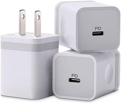 ARCCRA iPhone 12 Charger, 20W USB C Charger Power Adapter PD Fast Charger Block for iPhone 12 Mini/12 Pro Max, iPhone 11/XS/XR/X/8, iPad Pro, AirPods, More (3-Pack)