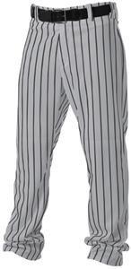 Alleson Athletic Adult Pinstripe Baseball Pant, Grey/Black, Large ()