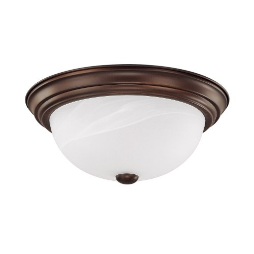 - Capital Lighting 2713BB Traditional 2-Light Flush Mount, Burnished Bronze Finish with White Faux Alabaster Glass