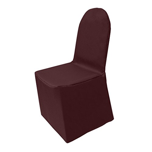Ultimate Textile (25 Pack) Polyester Banquet Chair Cover - for Wedding or Party use, Burgundy Red by Ultimate Textile