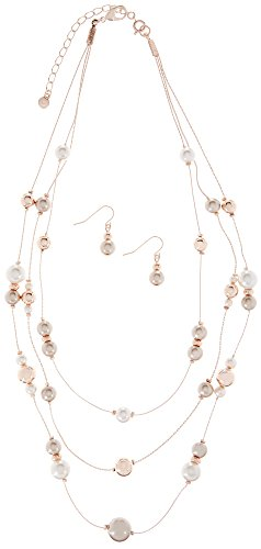 Roman 3 Row Faux Pearl Illusion Necklace & Earring Set One Size Rose gold tone - Faux Pearl Illusion Necklace Earrings