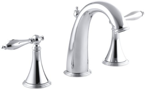 KOHLER K-310-4M-CP Finial Traditional Widespread Lavatory Faucet, Polished Chrome