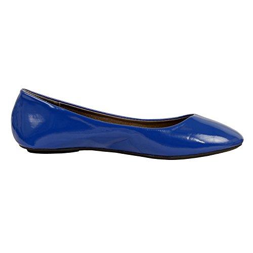 Westbalv Frauen Casual Ballett Flat Blaues Patent