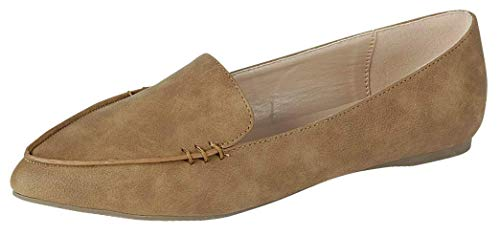 Harper Shoes Womens Loafer Flat Closed Toe Slip On, Tan, 8.5