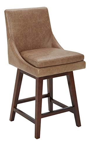 Armen Living Jayden Mid-Century Swivel Counter Height Barstool, 26 , Brown