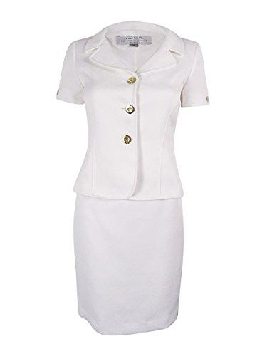 Tahari Womens A-Line Textured Skirt Suit White 6