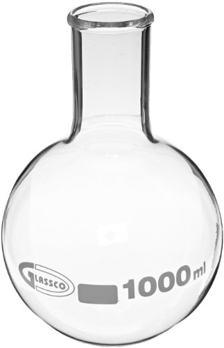 United Scientific FG4060-1000 Borosilicate Glass Flat Bottom Boiling Flask, 1000ml Capacity ()
