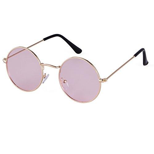 SORVINO Small Circle Glasses Tint John Lennon Round Sunglasses(Gold/Pink, 50)