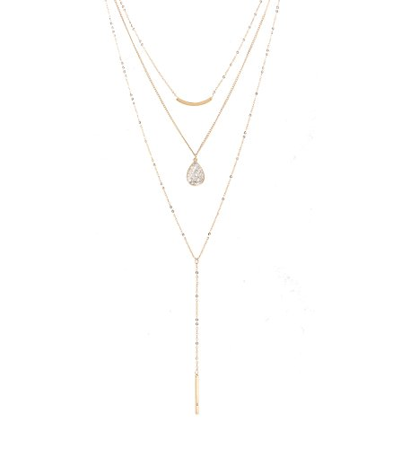 Seni Jewelry Multi-Layer Rhinestone Charm Pendant Y-Necklace Curve Bar Choker Necklace Water-Drop/Bar Pendant Necklace Adjustable