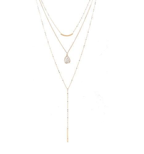 Seni Jewelry Multi-Layer Rhinestone Charm Pendant Y-Necklace Curve Bar Choker Necklace Water-Drop/Bar Pendant Necklace Adjustable
