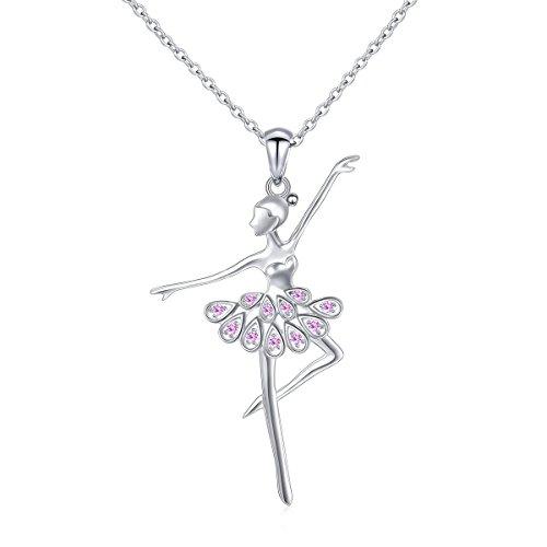925 Sterling Silver CZ Ballet Dancer Ballerina Necklace Recital Gift for Women,18