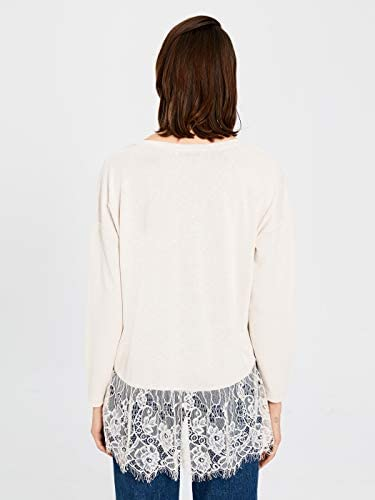 LC WAIKIKI damski T-shirt z koronkowym dekoltem w serek: Odzież