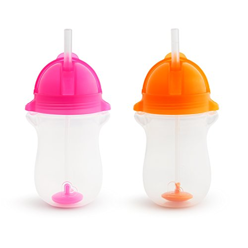 Munchkin Click Lock Any Angle Weighted 2 Piece Straw Cup, Pink/Orange