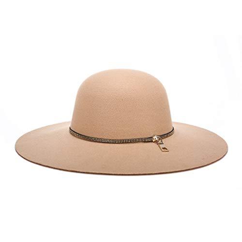 Felted Wool Hat Patterns - 2019 Women Autumn Wide Wool Edge Hats Ladies Spring Floppy Wool Felt Big Caps Spring Summer Big Felted Cap Khaki